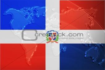 Flag of Dominican Republic metallic map