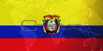 Flag of Ecuador metallic map