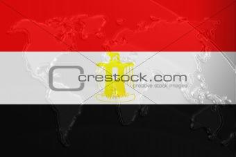 Flag of Egypt metallic map