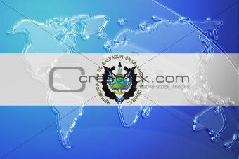 Flag of El Salvador metallic map