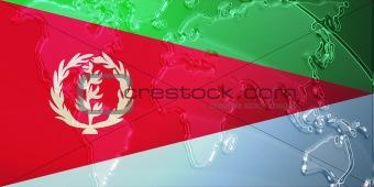 Flag of Eritrea metallic map