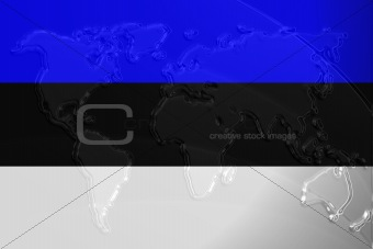 Flag of Estonia metallic map