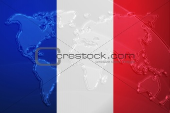 Flag of France metallic map