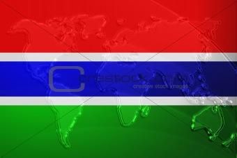 Flag of Gambia metallic map