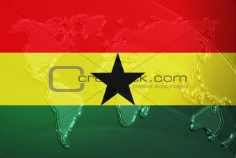Flag of Ghana metallic map