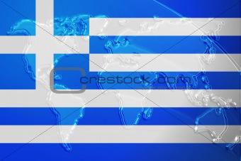 Flag of Greece metallic map