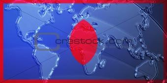 Flag of Guam metallic map