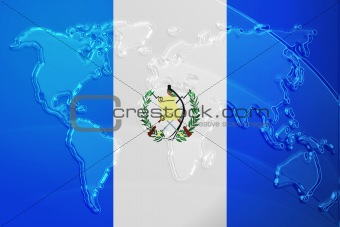 Flag of Guatemala metallic map