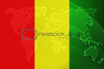 Flag of Guinea metallic map