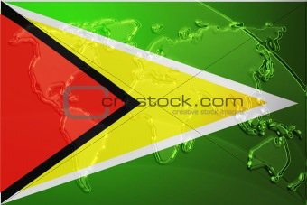Flag of Guyana metallic map