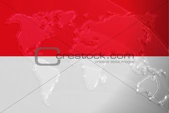 Flag of Indonesia metallic map