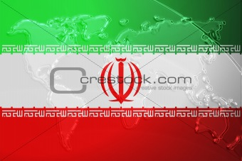 Flag of Iran metallic map