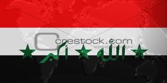 Flag of Iraq metallic map
