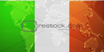 Flag of Ireland metallic map