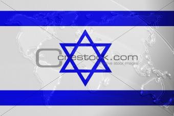 Flag of Israel metallic map