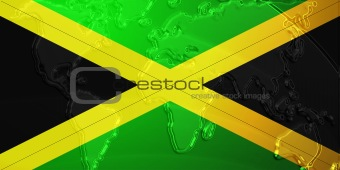 Flag of Jamaica metallic map