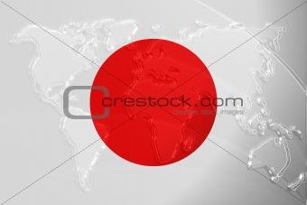 Flag of Japan metallic map