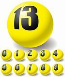 Numeric yellow balls.