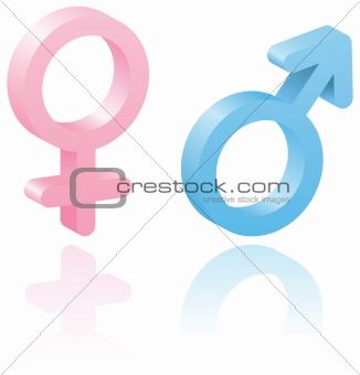 3d male and female symbols.