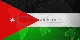 Flag of Jordan metallic map