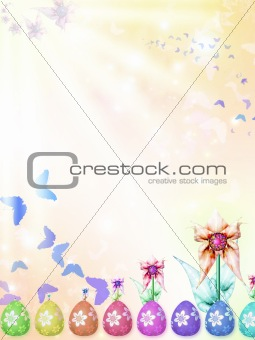 East r background with eggs  and flowers