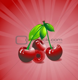 Three red cherries with green leaves