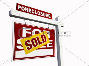 Red Sold Foreclosure Real Estate Sign Isolated on White.