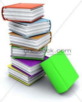 3d charicature render of a stack of books