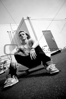 Skateboarder Resting