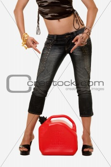 Woman legs and gas tank
