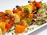Shrimp Kebabs with Rice