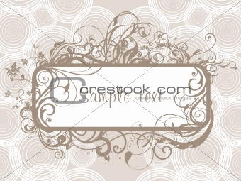 circle background with abstract floral design