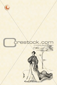 Background with Japanese under a pine-tree