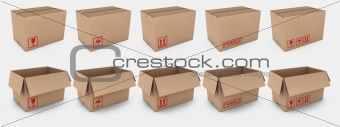 Cardboard boxes with warning labels
