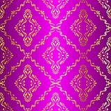 Gold-on-Pink seamless swirly Indian pattern