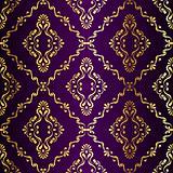 Gold-on-Purple seamless swirly Indian pattern
