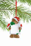 Santa Bear Ornament with Sign