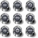 Internet download icon set on vector buttons