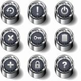 Computer desktop icon set on vector buttons