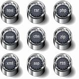 Internet file extension icons on vector buttons