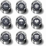 Household icons on vector buttons