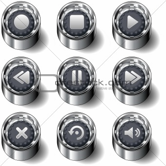 Media player icons on vector button set