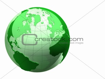 3d earth isolated on white background
