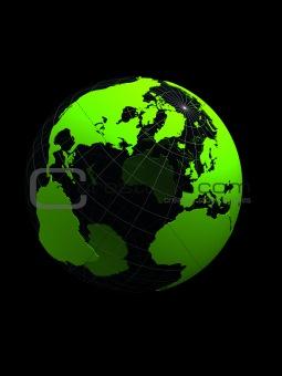 green 3d globe on black background