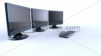 three lcd screens with keyboard and mouse on white background