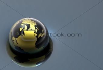 3d metal globe