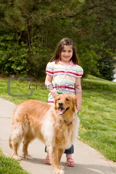 Little Girl and Dog