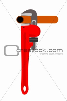 A pipewrench with a pipe