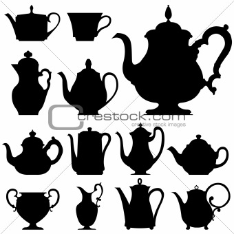 Tea and coffee pots and cups