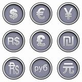International currency symbol button set